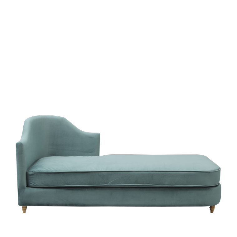 MONACO velour chaise lounge ocean green