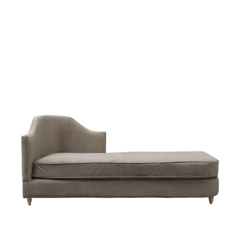 MONACO velour chaise lounge brown