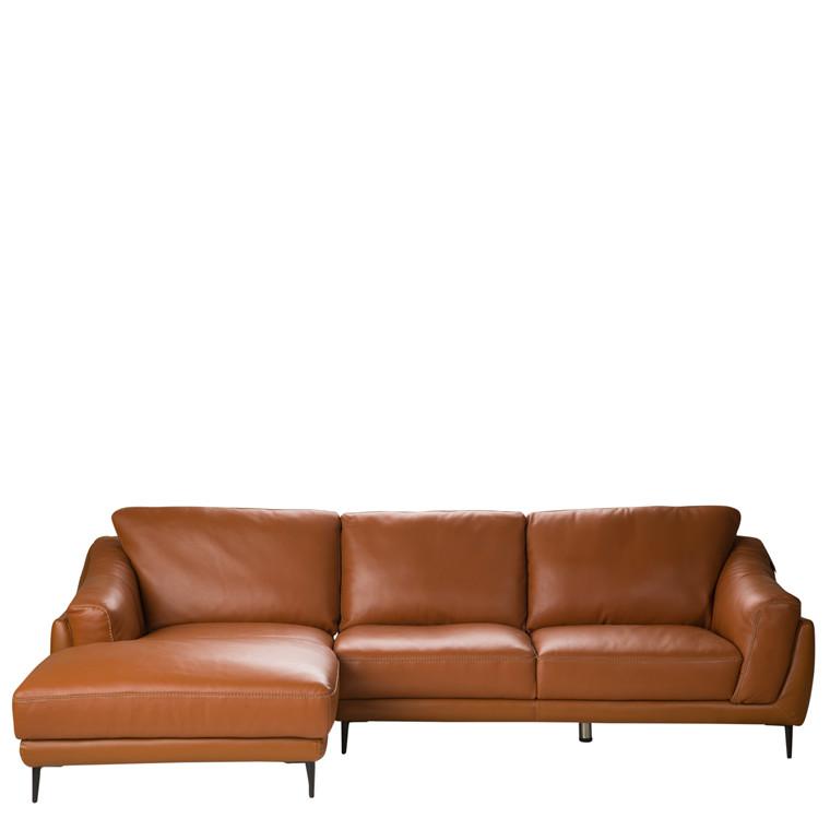 FLORENCE chaiselong læder sofa cognac