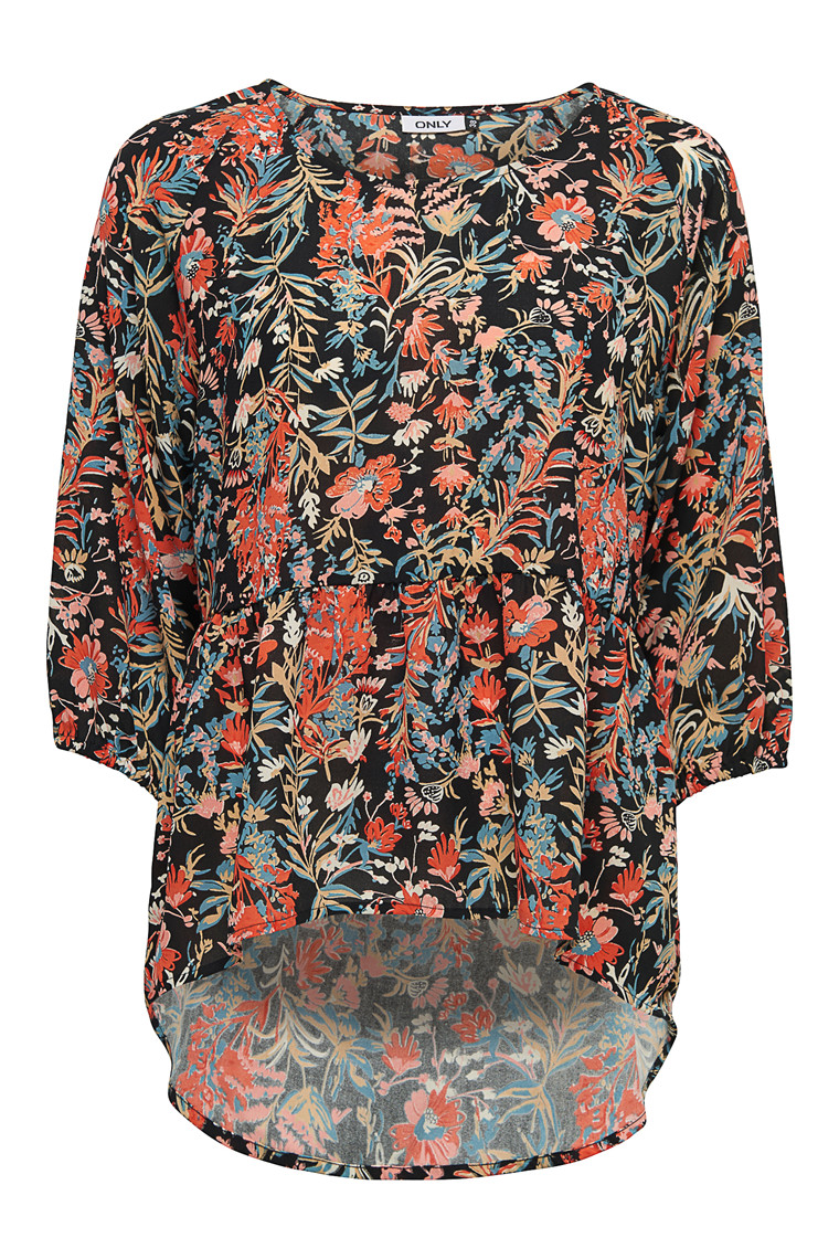 ONLY Clematis top med blomster print