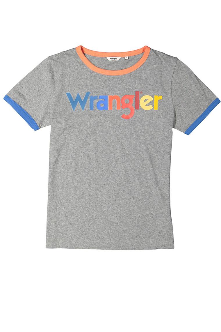 WRANGLER Ringer Grey Marl t-shirt