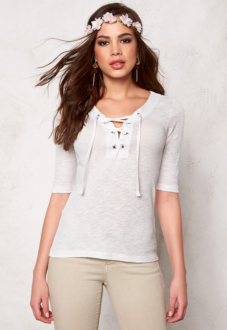 ONLY Freja Lace Up Top hvid