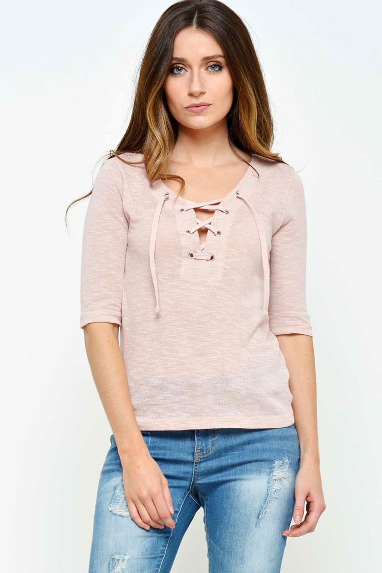 ONLY Freja Lace Up Top rosa