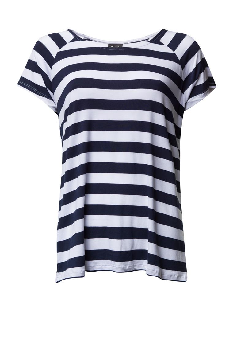 VILA TIME t-shirt blå/hvid