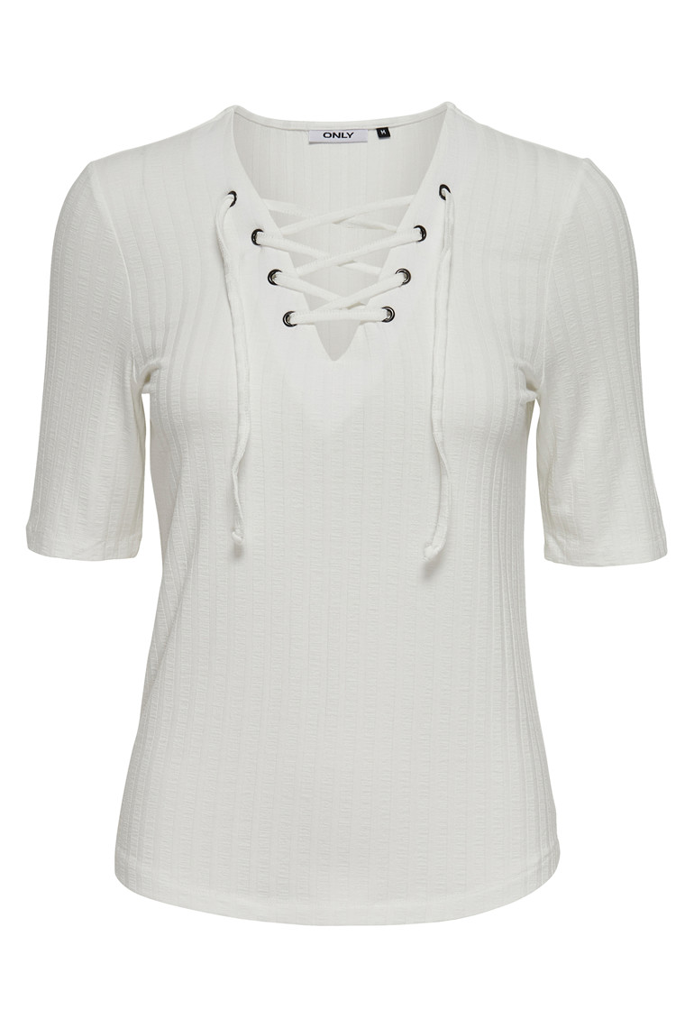 ONLY Cool Ripsi Lace Up Top plein air