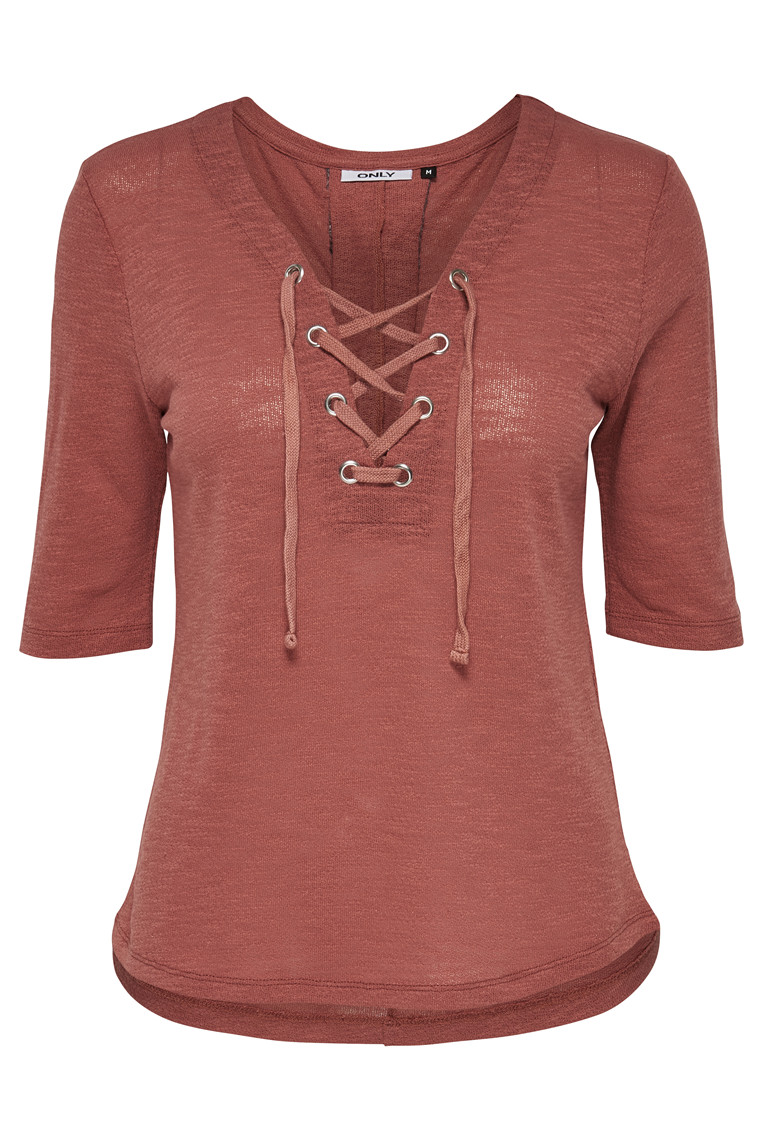 ONLY Freja Lace Up Top marsala