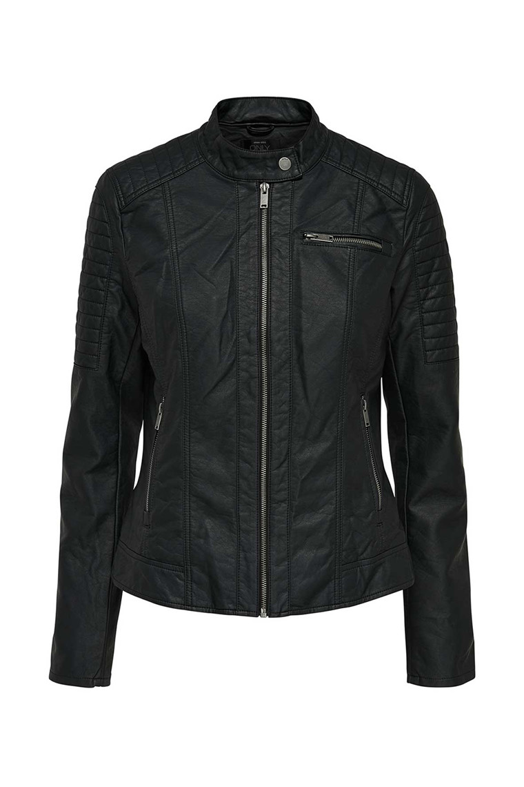 ONLY New Start Faux Leather Jacket sort