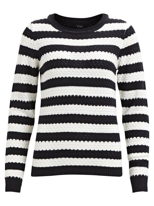 VILA Share knit pullover blå/hvid
