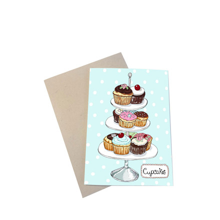 "MOUSE AND PEN ILLUSTRATION ""Cupcakes"" kort inkl. kuvert"