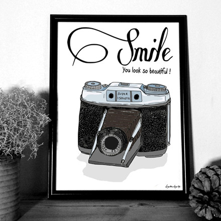 """MOUSE AND PEN ILLUSTRATION """"Smile""""A4"""