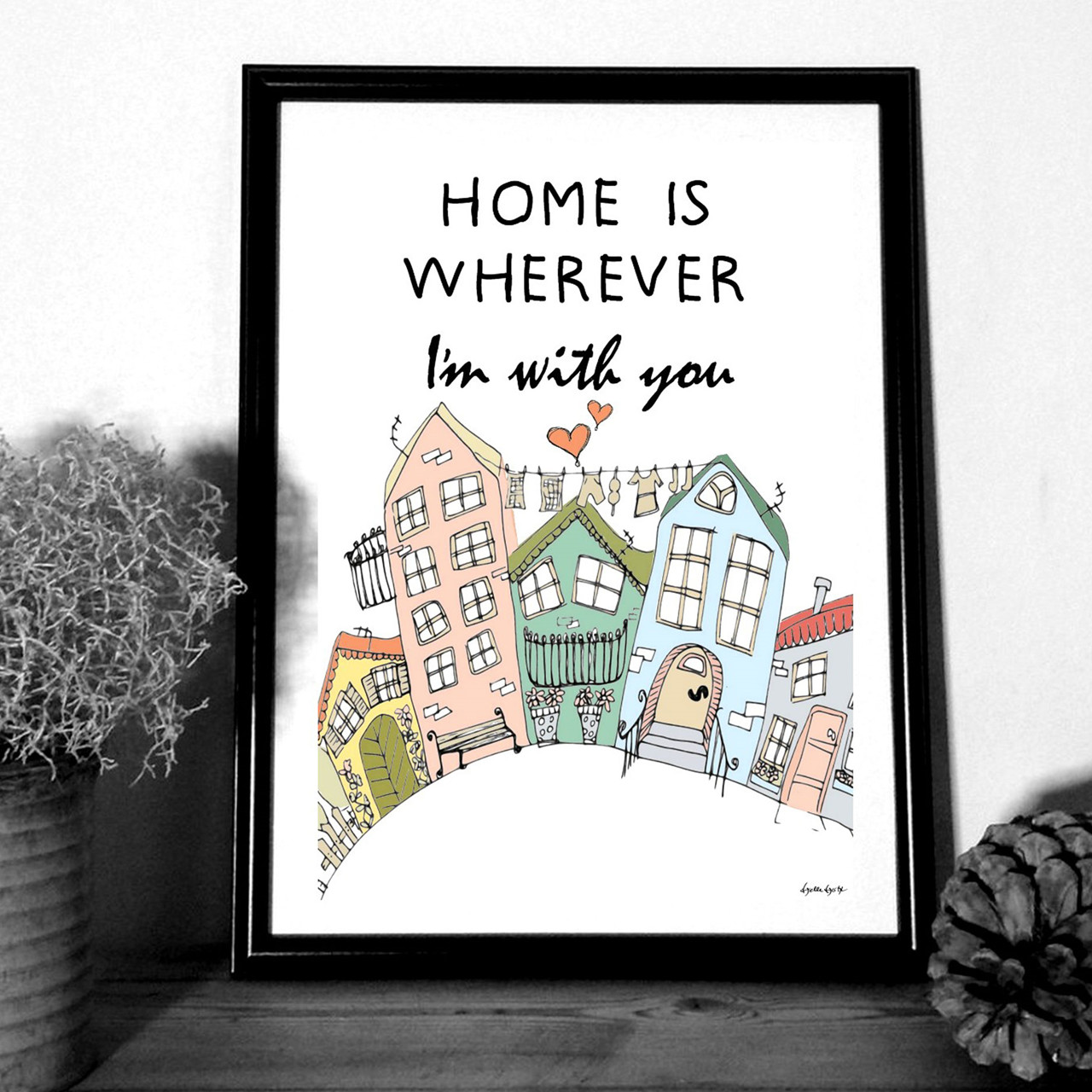 """MOUSE AND PEN ILLUSTRATION """"Home is whereever Im with you"""" A4"""