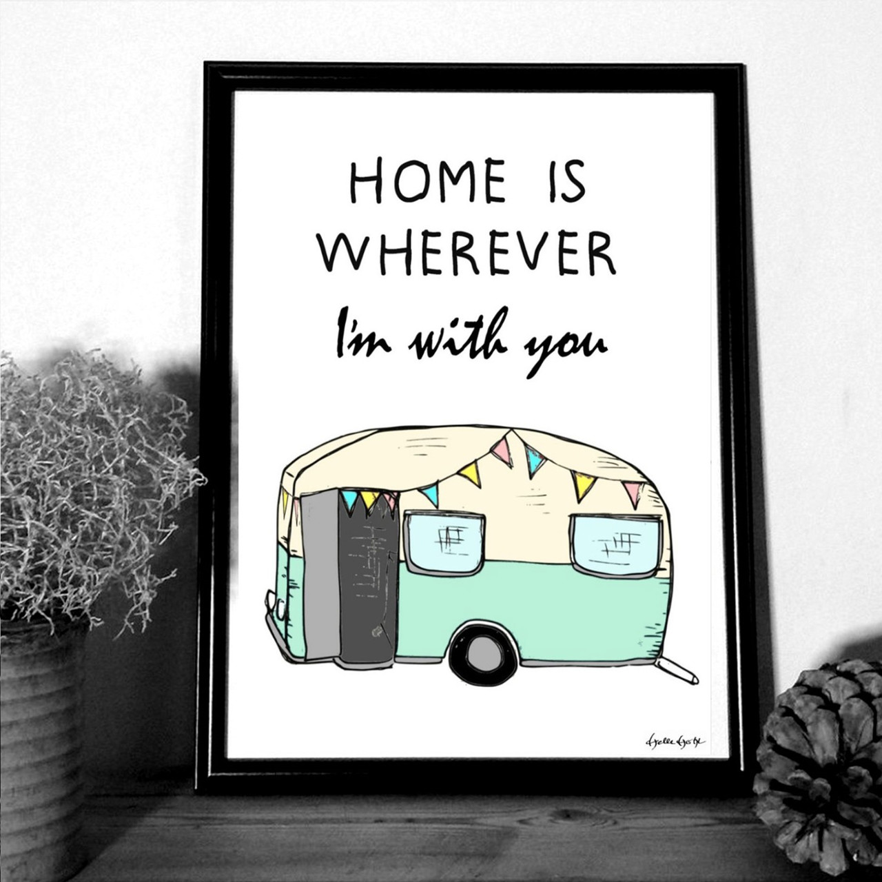 """MOUSE AND PEN ILLUSTRATION #Home is whereever Im with you"""" A4"""