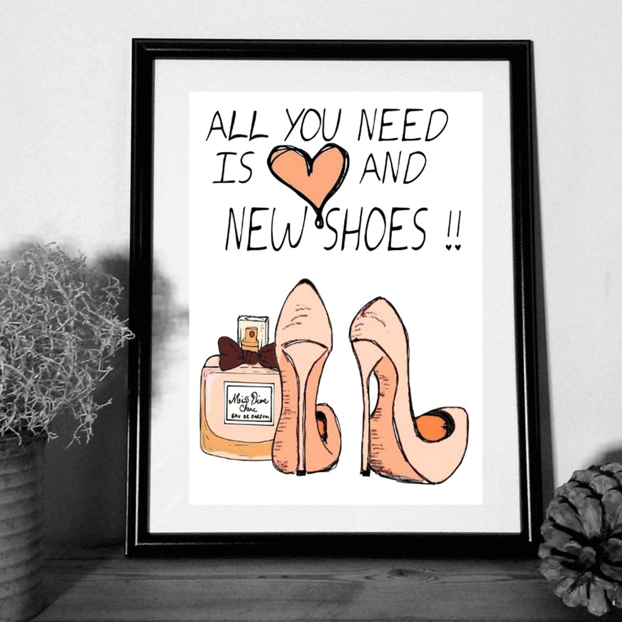 """MOUSE AND PEN ILLUSTRATION """"All you need is love and new shoes"""" A4"""