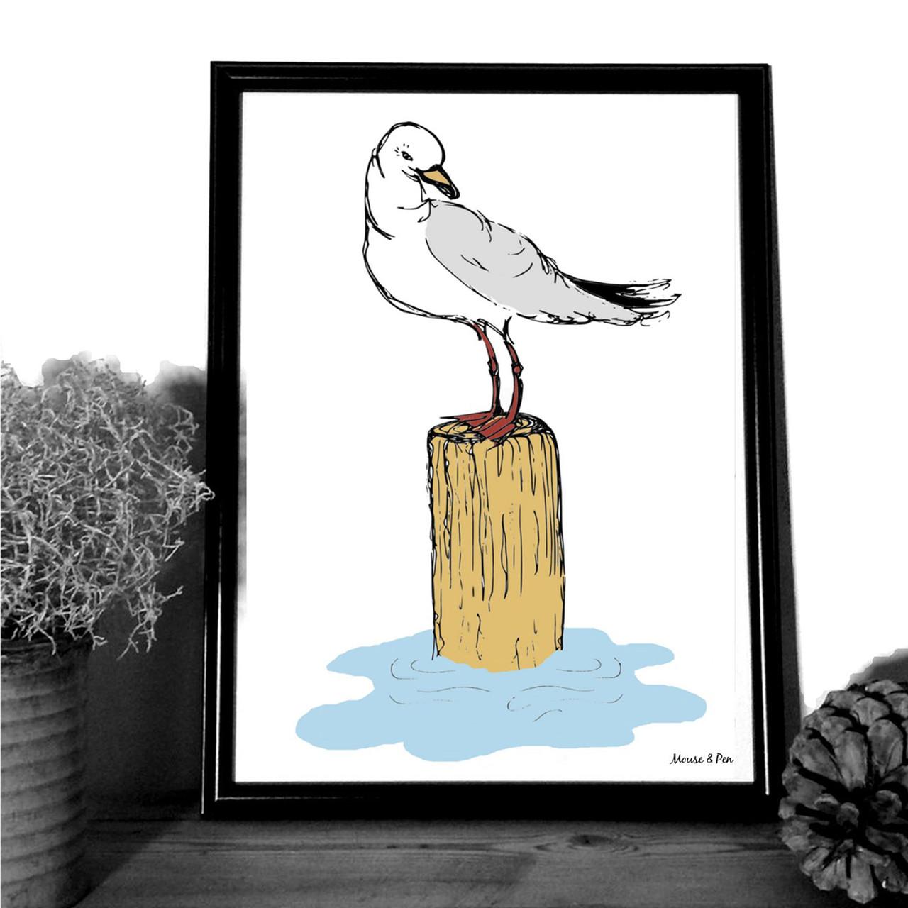 "MOUSE AND PEN ILLUSTRATION ""Mågen"" A4"