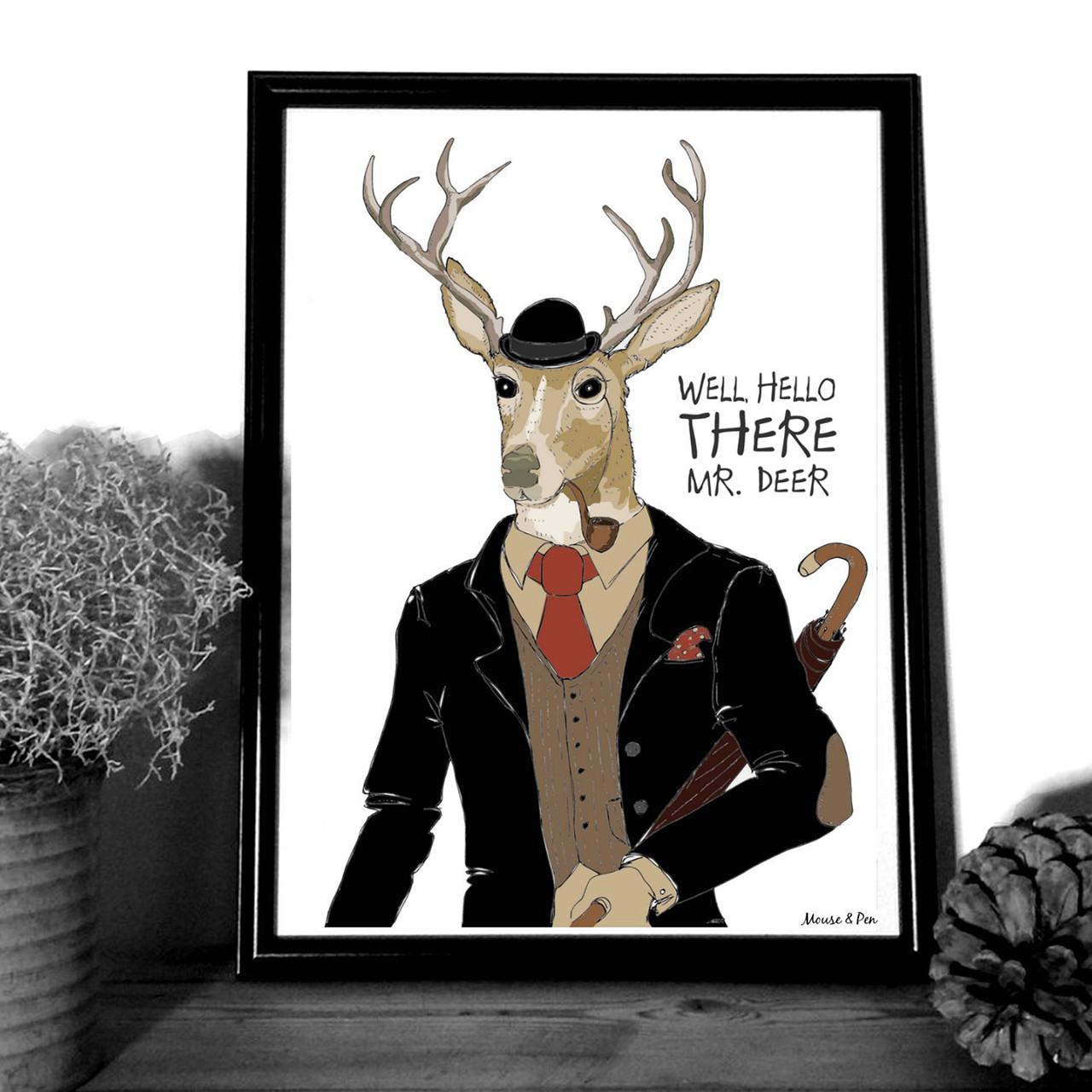 """MOUSE AND PEN ILLUSTRATION """"Mr. Deer"""" A4"""