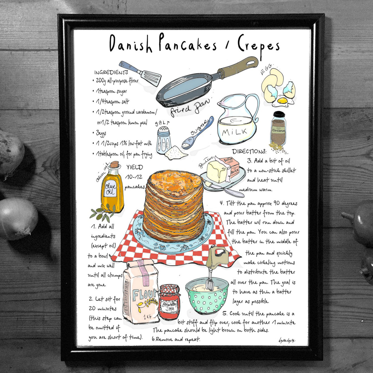 """MOUSE AND PEN ILLUSTRATION """"Pancakes"""" A4"""