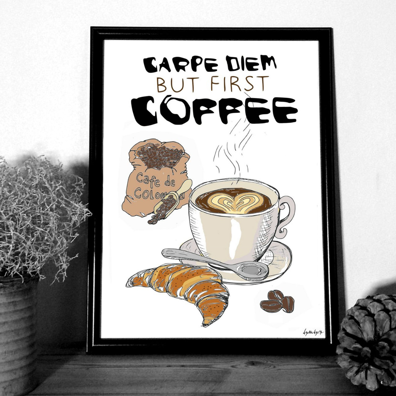 """MOUSE AND PEN ILLUSTRATION """"Coffee"""" A4"""