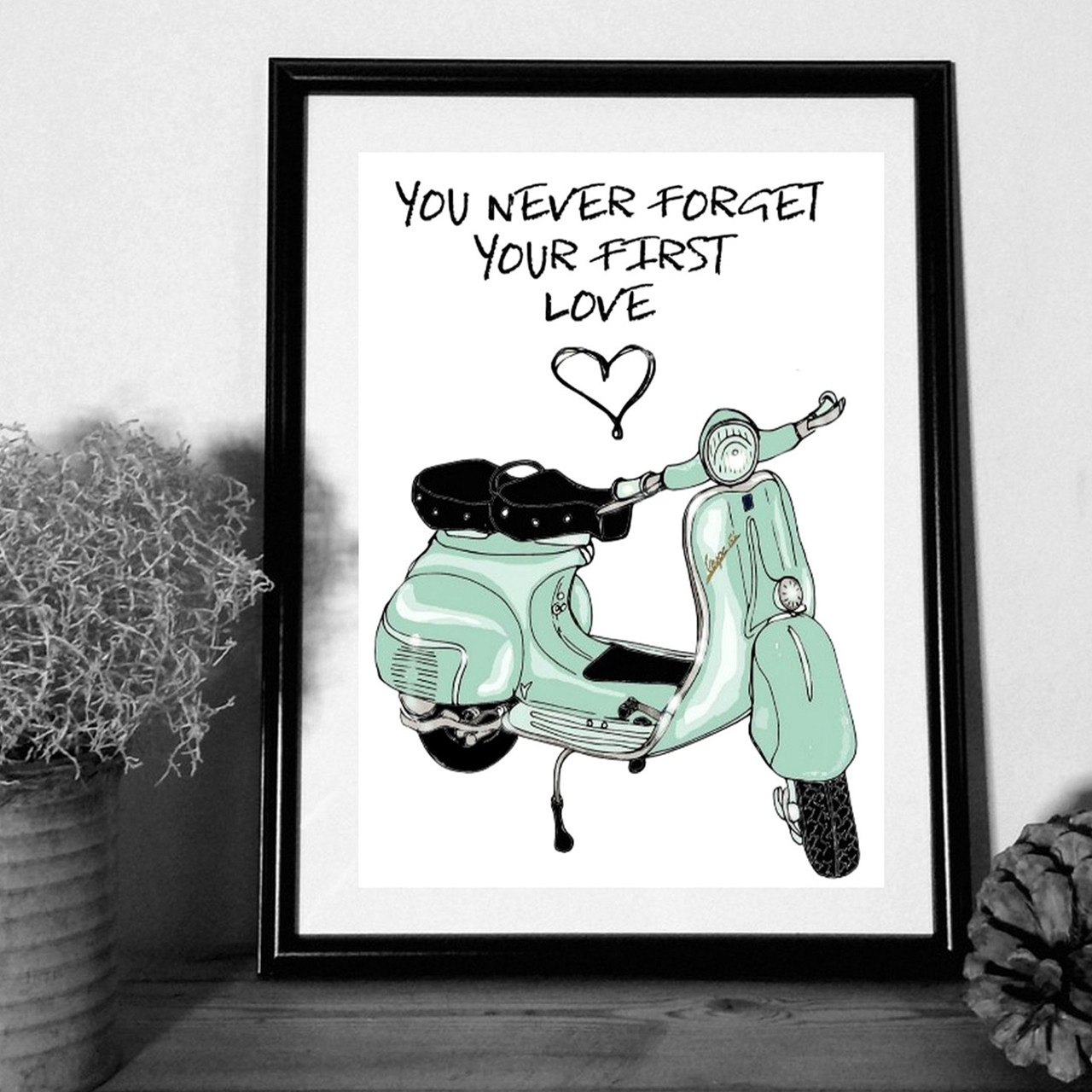 """MOUSE AND PEN ILLUSTRATION """"You never forget your first love"""" A4"""
