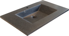 LAVA badvask i sort mat marmor - 82 cm