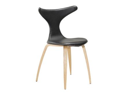 Dolphin spisebordsstol - Sort læder m. ege ben