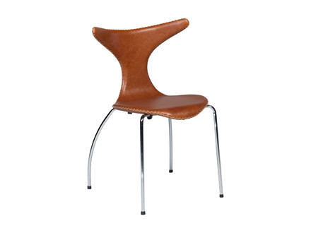 Dolphin spisebordsstol - Lysebrun læder m. Krom ben