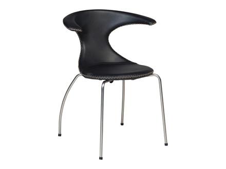 Flair spisebordsstol - Sort læder med mat metal ben og kontrast syninger