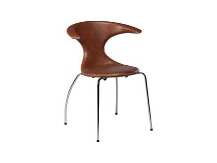 Flair spisebordsstol - Lysebrun læder m. Krom ben