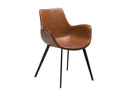 Hype spisebordsstol - Vintage lysebrun læderlook m. armlæn