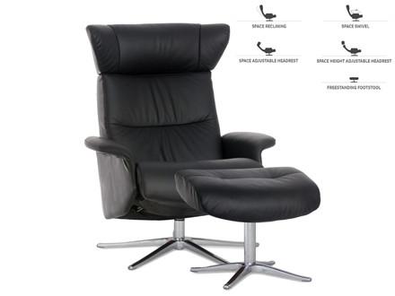 Space 20.30 lænestol m. skammel - læder