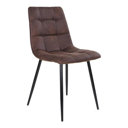 Middelfart spisebordsstol - mørkebrunt sæde - sort stel