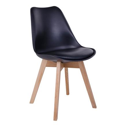 Molde spisebordsstol - sort sæde - naturtræ stel