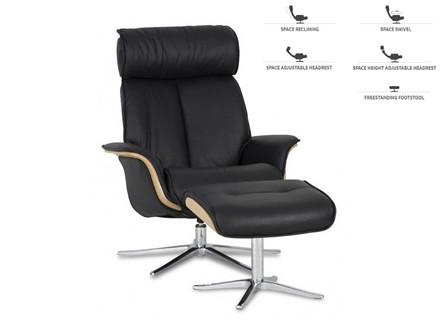 Space 5400 lænestol m. skammel - sort læder