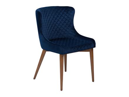 Vetro spisebordsstol - Blå velour med ege ben
