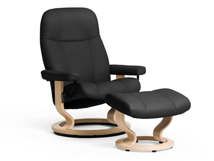Stressless Garda lænestol inkl. skammel i sort læder - størrelse medium