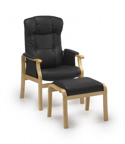 Sorø otium lænestol med skammel - læder
