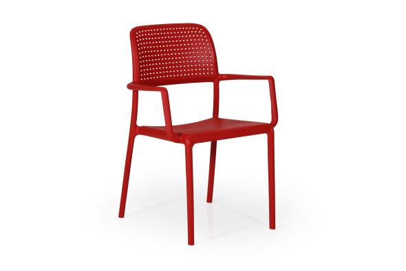 Bora havestol med armlæn - rød
