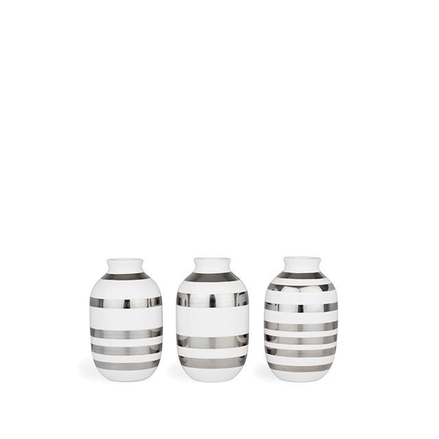 Omaggio Vase Sølv Miniature 3-Pak