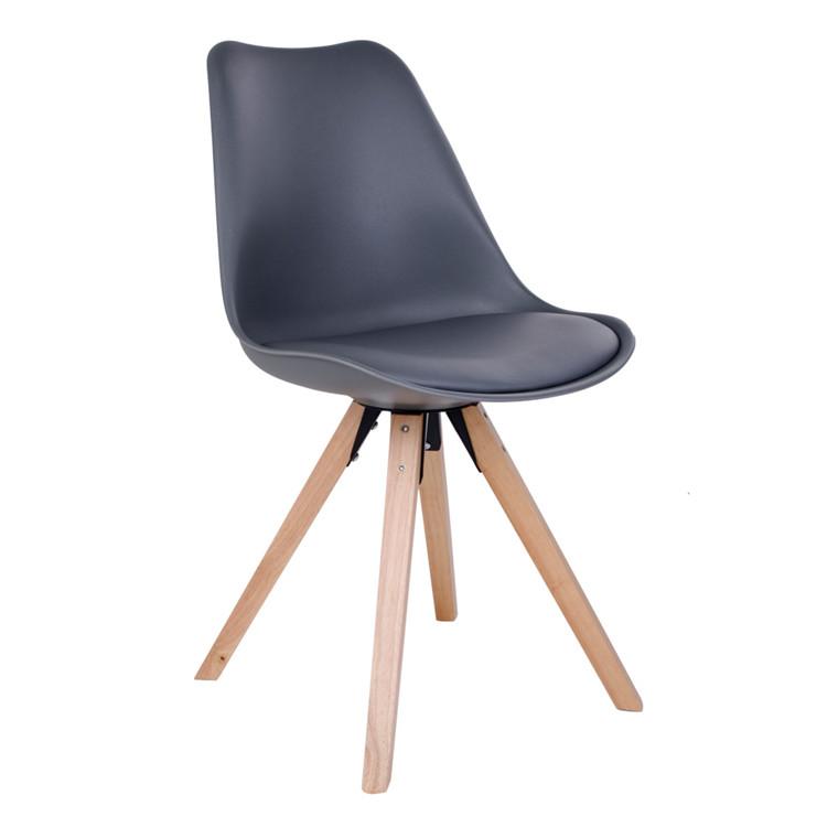 Bergen spisebordsstol - gråt sæde - naturtræ stel