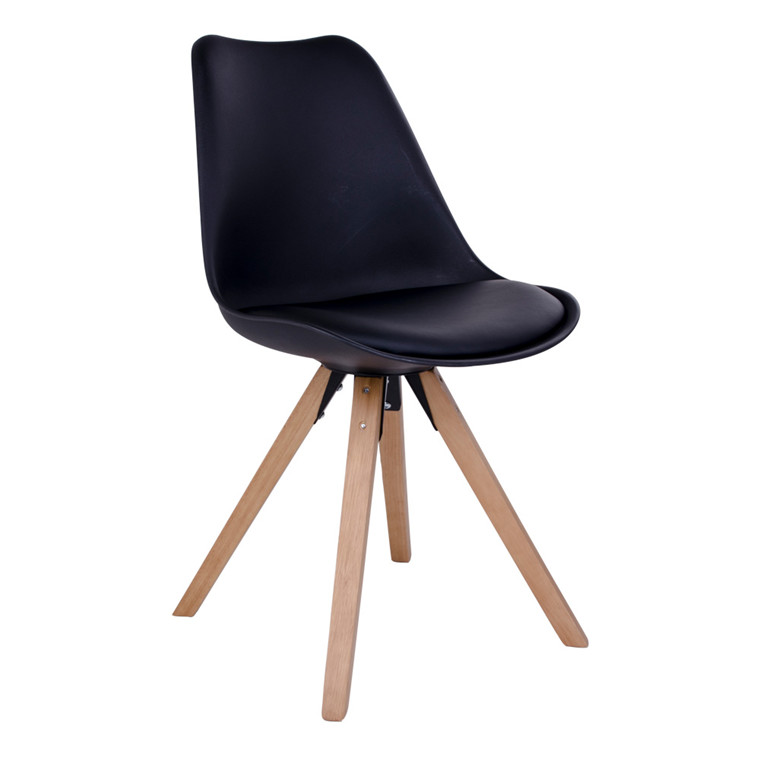 Bergen spisebordsstol - sort sæde - naturtræ stel