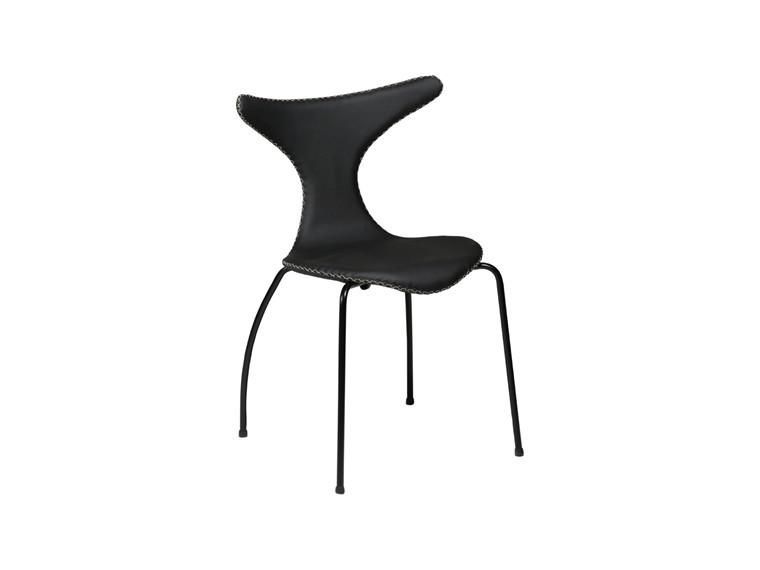 Dolphin spisebordsstol - Sort læder m. sorte ben