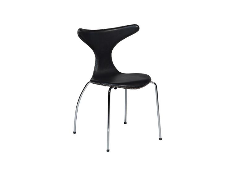 Dolphin spisebordsstol - Sort læder m. krom ben
