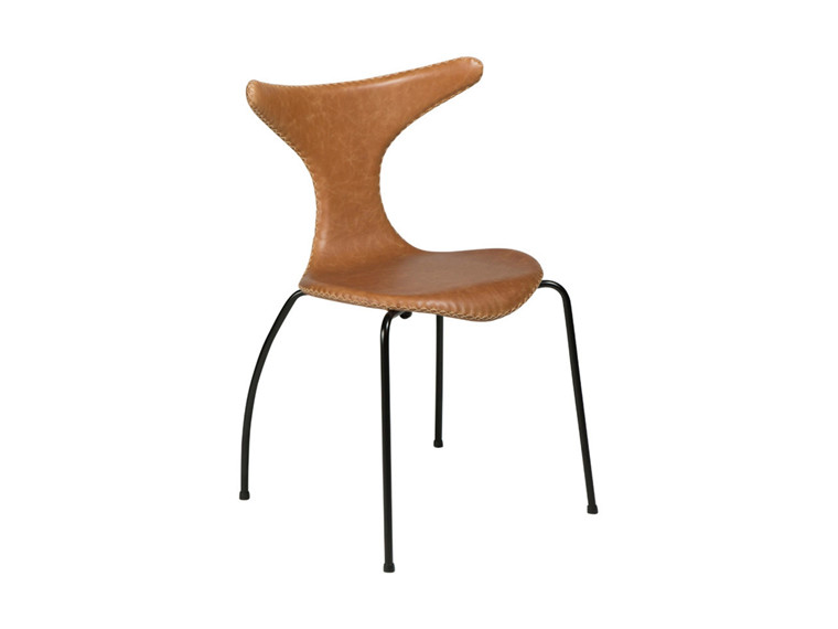 Dolphin spisebordsstol - Lysebrun læder sorte metal ben