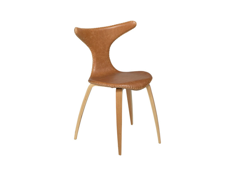 Dolphin spisebordsstol - Lysebrun læder m. Ege ben