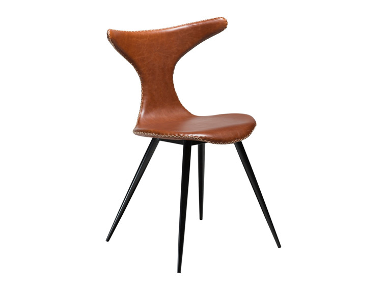 Dolphin spisebordsstol - lysebrun kunstlæder med sorte ben