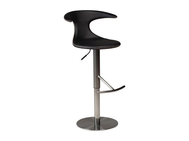 Flair barstol - Sort læderlook m. kontrast syninger