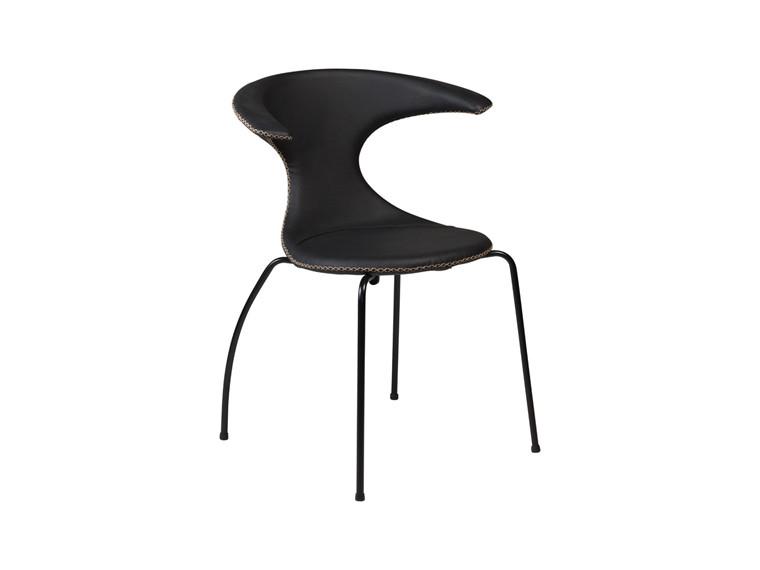 Flair spisebordsstol - Sort læder m. sorte ben og kontrast syninger