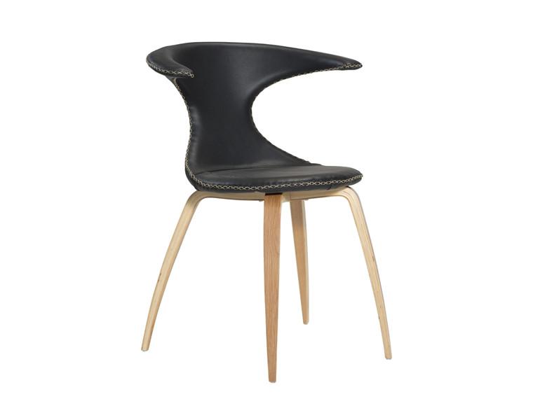 Flair spisebordsstol - Sort læder med egeben
