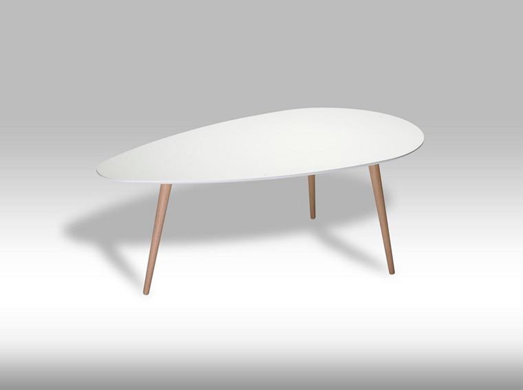 Fly sofabord stor - hvid/bøgetræ