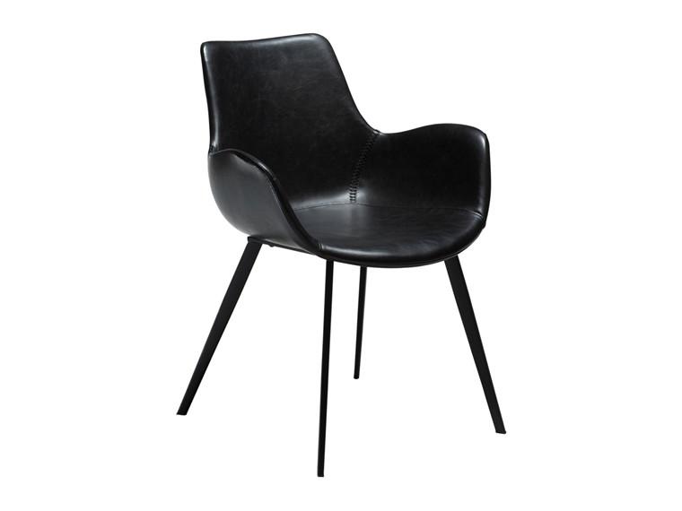 Hype spisebordsstol - Sort læderlook m. armlæn