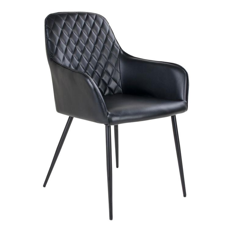 Harbo spisebordsstol - sort sæde - sort stel